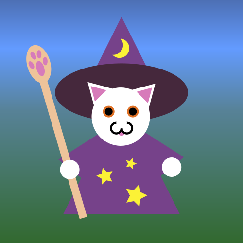 A white cat in purple wizard robe and hat, carrying a staff with a pawprint symbol.